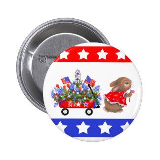 """Botón de """"todo el desfile americano del conejito"""" pin redondo de 2 pulgadas"""