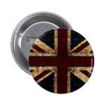 botón de Union Jack del diseño del vintage Pin Redondo De 2 Pulgadas