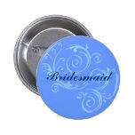 Botón de voluta azul de la dama de honor pin