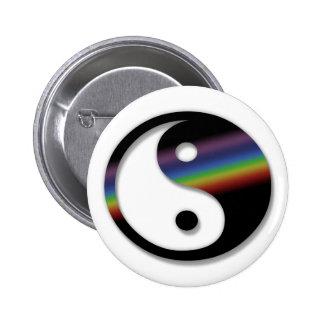 Botón de Yin Yang del arco iris Pin Redondo De 2 Pulgadas