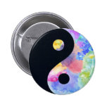 Botón de Yin Yang del color de agua Pin Redondo De 2 Pulgadas