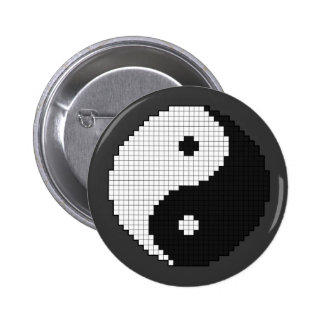 Botón de Yinyang del pixel Pin Redondo De 2 Pulgadas