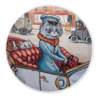 Botón decorativo del chófer del gato de Louis Wain Pomo De Cerámica