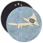 botón del キツネ del muchacho azul de los lunares del pin redondo de 6 pulgadas