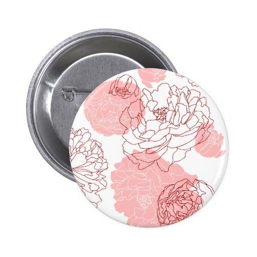 Botón del adorno del Peony Pin Redondo De 2 Pulgadas