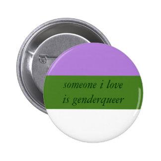 Botón del aliado de Genderqueer Pin Redondo De 2 Pulgadas