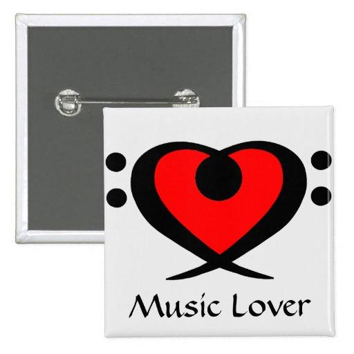 Botón del amante de la música del corazón del Clef