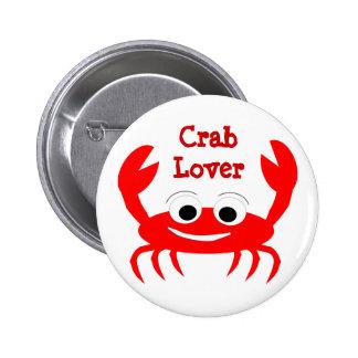 Botón del amante del cangrejo pin
