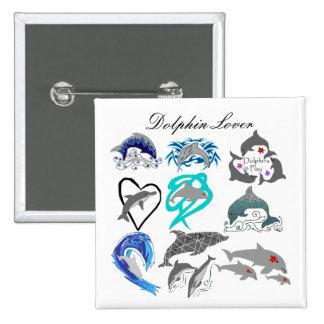 Botón del amante del delfín pin cuadrado