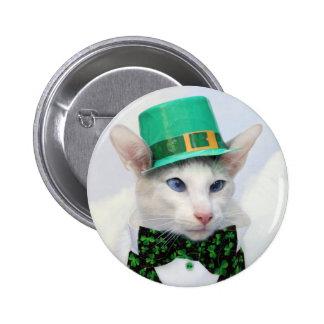 Botón del amante del gato del día de St Patrick Pins