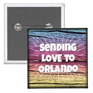Botón del amor de Orlando del arco iris Pin Cuadrado