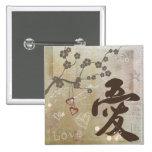 """Botón del """"amor"""" del diseño del kanji pin"""