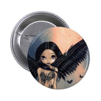"""Botón """"del ángel con alas negro"""" pin redondo de 2 pulgadas"""