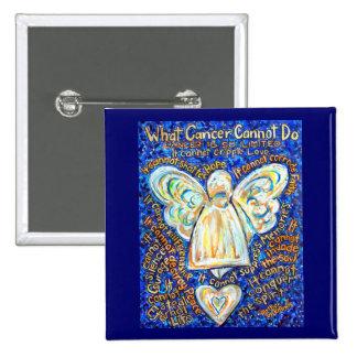 Botón del ángel del cáncer del azul y del oro pin cuadrado