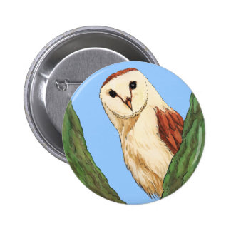 botón del animal del búho de la nieve pin