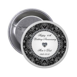 Botón del aniversario de boda de diamante pin