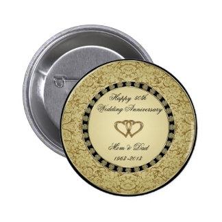 Botón del aniversario de boda de oro