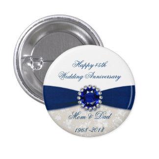 Botón del aniversario de boda del damasco 45.o pin redondo de 1 pulgada