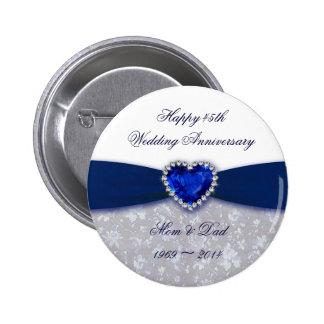 Botón del aniversario de boda del damasco 45.o pin redondo de 2 pulgadas