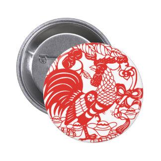 Botón del año 2017 del gallo de Papercut del chino Pin Redondo De 2 Pulgadas