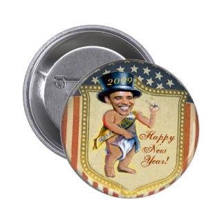 Botón del Año Nuevo del bebé de Obama Pin Redondo De 2 Pulgadas