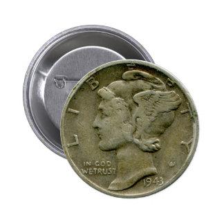 Botón del anverso de la moneda de diez centavos de pin