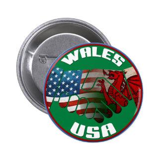 Botón del apretón de manos de País de Gales los E. Pins