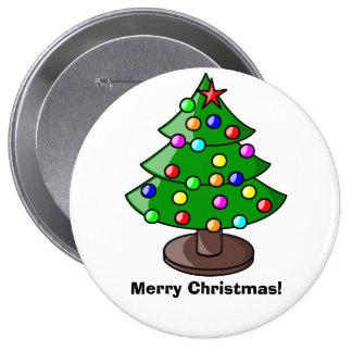 """Botón del árbol de navidad """"de las Felices Navidad Pin Redondo De 4 Pulgadas"""