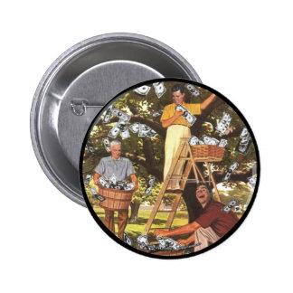 Botón del árbol del dinero grande pin redondo de 2 pulgadas