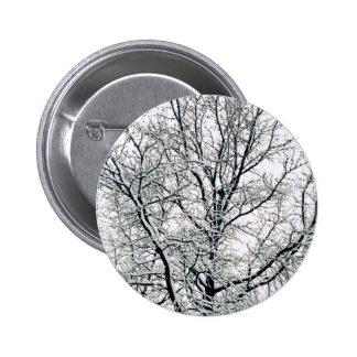 Botón del árbol del invierno pin redondo de 2 pulgadas