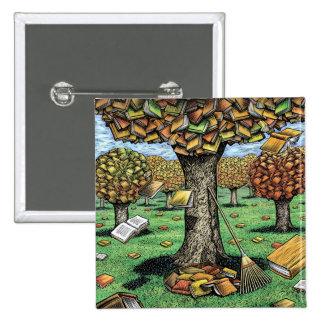 Botón del árbol del libro pin cuadrado