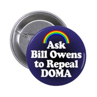 Botón del arco iris de DOMA para el representante. Pin Redondo De 2 Pulgadas