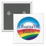 Botón del ARCO IRIS de Obama Biden Pin