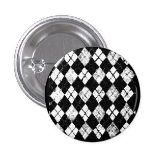 botón del argyle del grunge pin redondo de 1 pulgada