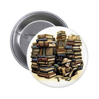 Botón del arqueólogo del libro pin redondo de 2 pulgadas