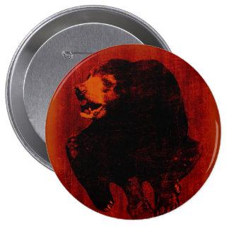 Botón del arte #2 del vintage del oso negro pin redondo de 4 pulgadas
