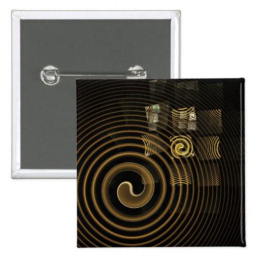 Botón del arte abstracto de la hipnosis (cuadrado) pins