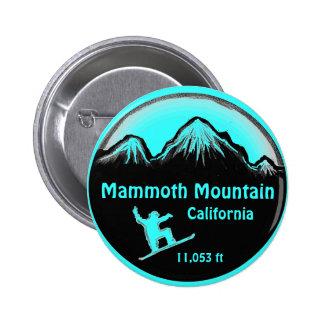 Botón del arte de la snowboard de Mammoth Mountain Pin Redondo De 2 Pulgadas
