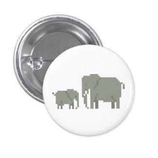 Botón del arte del pixel del elefante de la madre  pin redondo de 1 pulgada