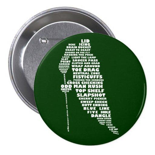 Botón del arte del texto del jugador de hockey pins