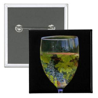 Botón del arte del vino pin cuadrado