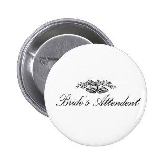 Botón del asistente de las novias pin redondo de 2 pulgadas