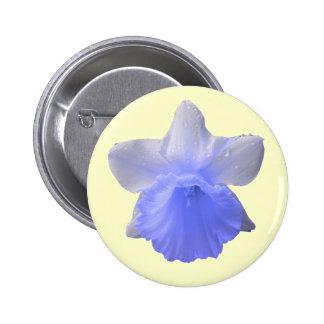 Botón del azul del narciso del goteo pin redondo de 2 pulgadas