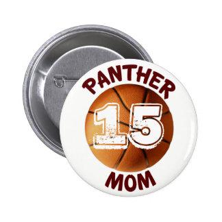 Botón del baloncesto de la mamá de la pantera pin redondo de 2 pulgadas