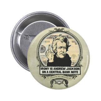 Botón del banco central de Andrew Jackson Pin Redondo De 2 Pulgadas