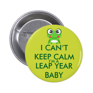 Botón del bebé del día de salto del año bisiesto pin redondo de 2 pulgadas