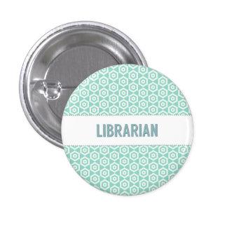 Botón del bibliotecario en la aguamarina pins