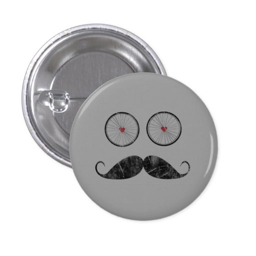 Botón del bigote con los ojos de la rueda de bicic pins