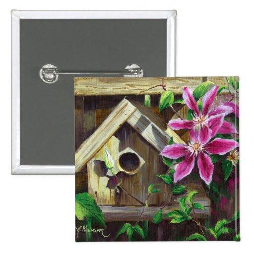 Botón del Birdhouse 0003 y del Clematis Pin