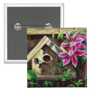 Botón del Birdhouse 0003 y del Clematis Pin Cuadrado